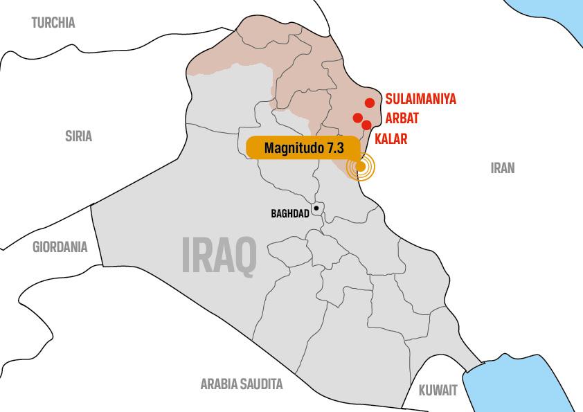 Mappa dell'epicentro del terremoto al confine tra Iraq e Iran