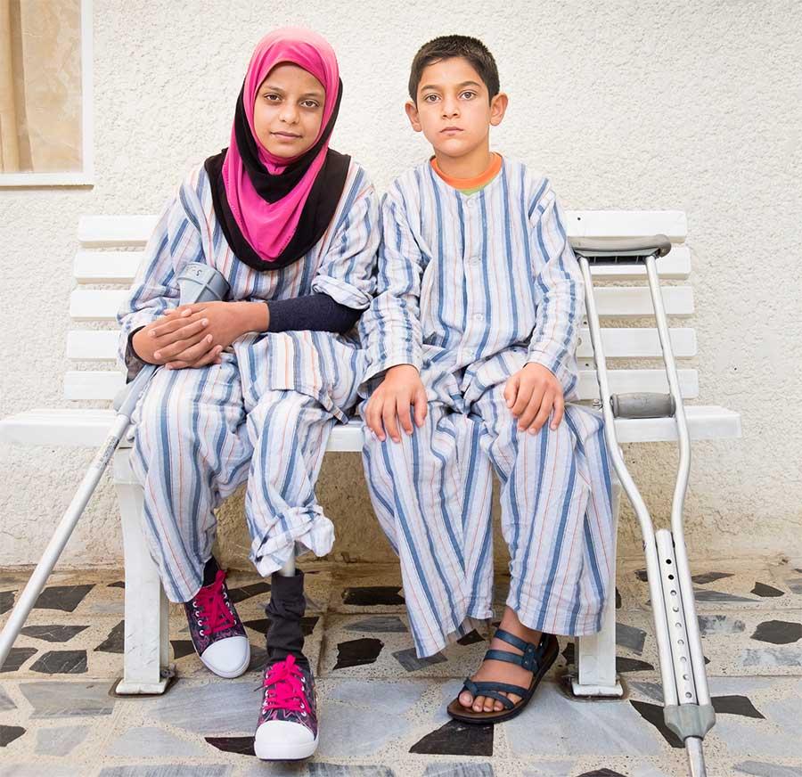 Ghofran e Akram nel nostro Centro di riabilitazione di Sulimaniya