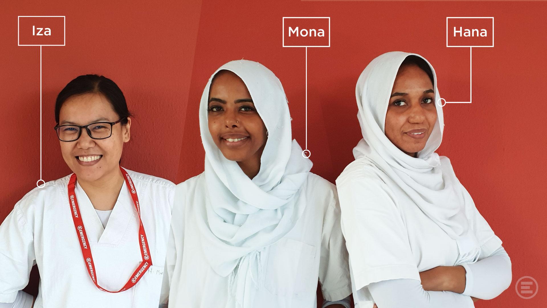 Mona, Hana e Iza, tre farmaciste del Centro di cardiochirurgia di EMERGENCY in Sudan