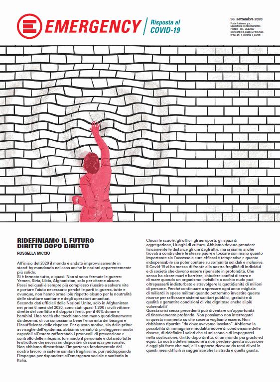 La copertina del numero 96 (settembre 2020) della rivista trimestrale EMERGENCY, inviata ai nostri sostenitori